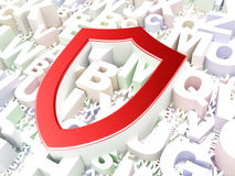 Protection concept: Contoured Shield on alphabet. Background, 3d render Royalty Free Stock Photography