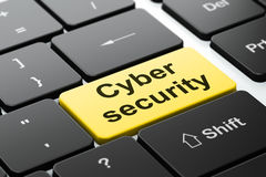 Protection concept: Cyber Security on computer keyboard background Royalty Free Stock Photography