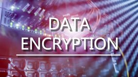 Protection concept: Data Encryption on digital supercomputer background.  stock photo