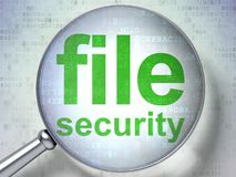 Protection concept: File Security with optical glass. Protection concept: magnifying optical glass with words File Security on digital background, 3D rendering Stock Photography