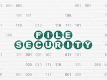 Protection concept: File Security on wall background. Protection concept: Painted green text File Security on White Brick wall background with Binary Code Royalty Free Stock Image