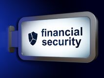 Protection concept: Financial Security and Broken Shield on billboard background. Protection concept: Financial Security and Broken Shield on advertising Stock Images