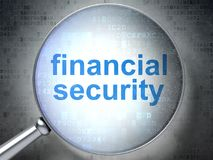 Protection concept: Financial Security with optical glass Royalty Free Stock Image
