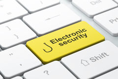 Protection concept: Fishing Hook and Electronic Security on comp. Protection concept: computer keyboard with Fishing Hook icon and word Electronic Security Royalty Free Stock Photos