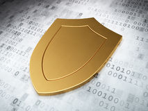 Protection concept: Golden Shield on digital Royalty Free Stock Photos