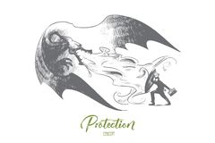 Protection concept. Hand drawn isolated vector. Protection concept. Hand drawn businessman with shield fighting against dragon. Saving business from crisis Stock Images