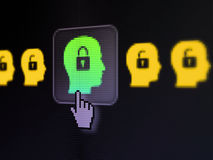 Protection concept: Head With Padlock on digital computer screen. Protection concept: pixelated Head With Padlock icon on button with Hand cursor on digital Royalty Free Stock Photography