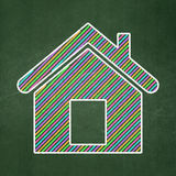 Protection concept: Home on chalkboard background. Protection concept: Home icon on Green chalkboard background, 3d render Royalty Free Stock Image