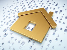 Protection concept: Home on digital background. Protection concept: Golden Home on digital background, 3d render Royalty Free Stock Photos