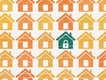 Protection concept: home icon on wall background Stock Images