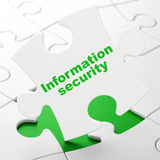 Protection concept: Information Security on puzzle background Royalty Free Stock Images