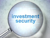 Protection concept: Investment Security with optical glass. Protection concept: magnifying optical glass with words Investment Security on digital background, 3D Stock Photo
