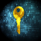 Protection concept: Key on digital background. Protection concept: pixelated Key icon on digital background, 3d render Stock Images
