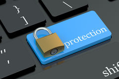 Protection concept on keyboard button Stock Photo