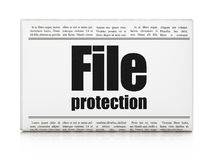 Protection concept: newspaper headline File Protection. On White background, 3D rendering Royalty Free Stock Photo