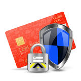 Protection concept with padlock on creditcard Royalty Free Stock Image