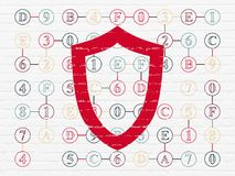 Protection concept: Contoured Shield on wall background. Protection concept: Painted red Contoured Shield icon on White Brick wall background with Scheme Of vector illustration