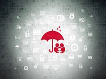 Protection concept: Family And Umbrella on Digital Data Paper background. Protection concept: Painted red Family And Umbrella icon on Digital Data Paper Royalty Free Stock Photos