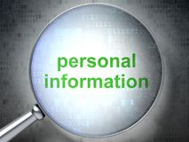 Protection concept: Personal Information with optical glass. Protection concept: magnifying optical glass with words Personal Information on digital background Royalty Free Stock Photo