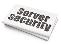 Protection concept: Server Security on Blank Newspaper background. Protection concept: Pixelated black text Server Security on Blank Newspaper background, 3D Stock Photography