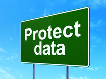 Protection concept: Protect Data on road sign background Stock Photo