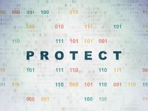 Protection concept: Protect on Digital Data Paper background Royalty Free Stock Photo