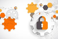 Protection concept. Protect mechanism, system privacy. Vector illustration with lock symbol Royalty Free Stock Images