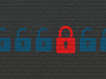 Protection concept: red closed padlock icon on Royalty Free Stock Images