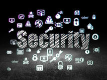 Protection concept: Security in grunge dark room Stock Images
