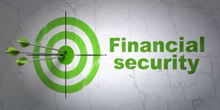 Protection concept: target and Financial Security on wall background. Success protection concept: arrows hitting the center of target, Green Financial Security Royalty Free Stock Photos