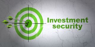 Protection concept: target and Investment Security on wall background. Success protection concept: arrows hitting the center of target, Green Investment Security Royalty Free Stock Images