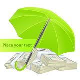 Protection concept with umbrella and money. This is file of EPS10 format Stock Image
