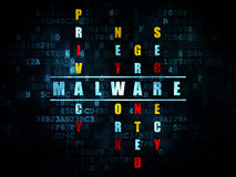 Protection concept: word Malware in solving. Protection concept: Pixelated blue word Malware in solving Crossword Puzzle on Digital background, 3d render Royalty Free Stock Image