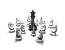 Protection, conflict concept with chess pieces and black queen figure Stock Images