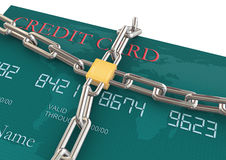Protection of credit card. 3d render of credit card protection concept Stock Photos