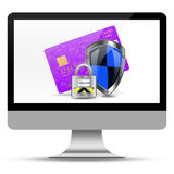 Protection creditcard on desktop, desktop illustration Stock Photography