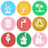 Protection d'écologie d'isolement autour de la collection d'icônes Photographie stock