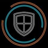 Protection d'emblème de bouclier de sécurité de vecteur et signe de sécurité, icône de bouclier illustration stock