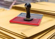 Protection d'encre et tampon en caoutchouc en bois Photo libre de droits