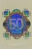 Protection d'hologramme sur le billet de banque de l'euro 50 Photographie stock libre de droits