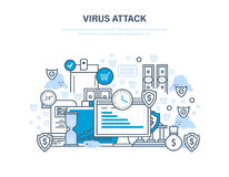 Protection of data and payments, financial security, information technology, communications. Virus attack concept. Protection of data, payments, financial Royalty Free Stock Images