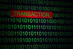 Protection de achat en ligne, codage de transaction Transaction de Word en code binaire de couleur verte sur le fond noir photographie stock