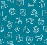 Protection de l'information, modèle sans couture, bleu, plat Image stock