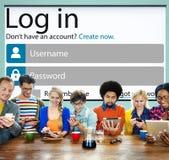 Protection de la vie privée en ligne d'Internet d'identité de mot de passe d'identifiez-vous concentrée Photos libres de droits