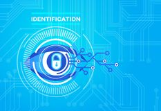 Protection de technologie d'Access de balayage de rétine de système d'identification et concept de sécurité Photographie stock libre de droits