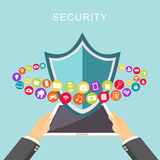 Protection des données Antivirus Protection des données Fixez le concept d'accès illustration de vecteur
