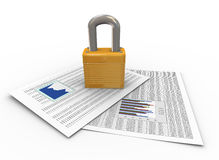 Protection of documents. 3d render of padlock on financial papers. Concept of protection of important data, documents, files, folders etc Stock Photos