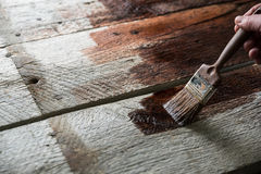 Protection en bois avec le conservateur Images libres de droits
