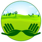 Protection of the environment. Green background Royalty Free Stock Images