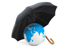 Protection of an environment concept. Umbrella covers the planet. On a white background Vector Illustration